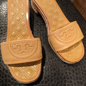 Tory Burch leather espadrille slides 8.5